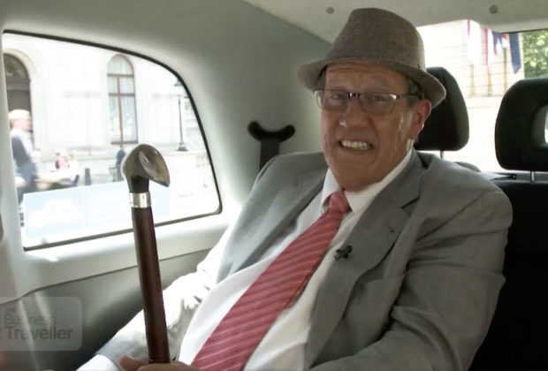 PHOTO: CNN host Richard Quest sitting in a taxi while wearing make-up to make him 30 years older.