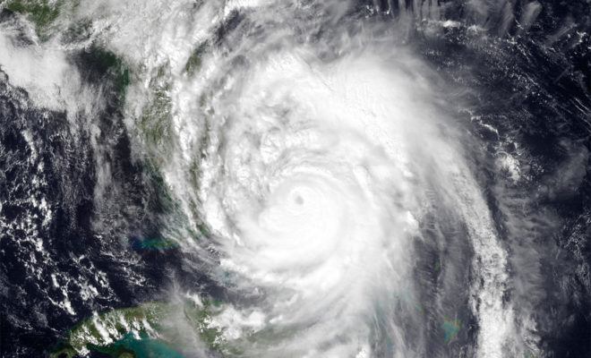 Satellite images of Hurricane Matthew off the coast of Florida in 2016.