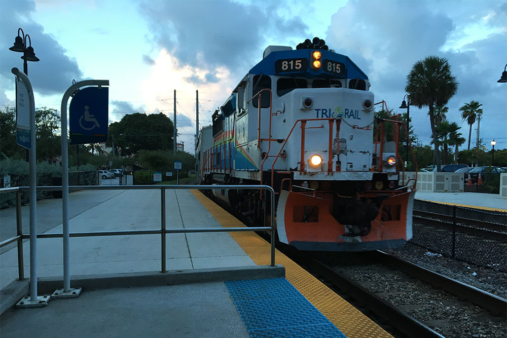 TRI-RAIL train pulling into the West Palm Beach station in South Florida.