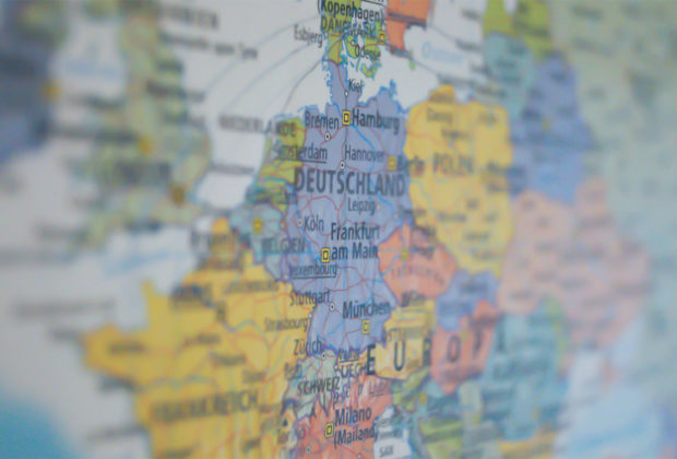 PHOTO: Close-up photo of the European content on a world map.